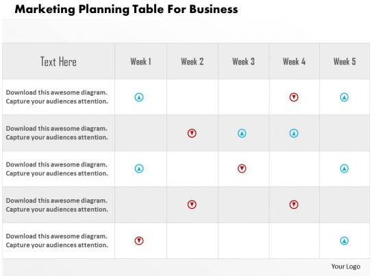 Marketing planning table for business flat powerpoint design for Table design ppt