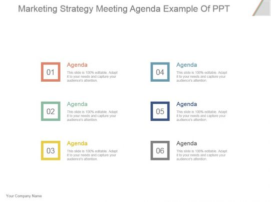 Marketing Strategy Meeting Agenda Example Of Ppt Powerpoint