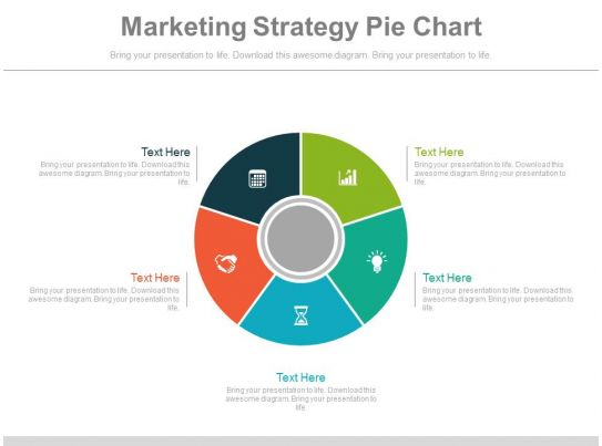 marketing strategy pie chart ppt slides