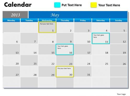 Calendar May 2013 : May calendar powerpoint slides ppt templates