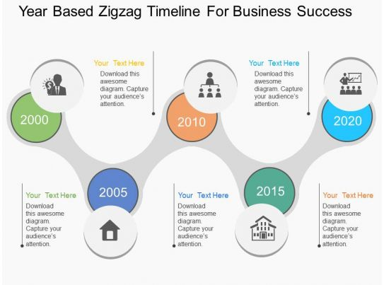 Mg year based zigzag timeline for business success flat for Milestone chart templates powerpoint
