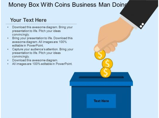 money box with coins business man doing saving flat powerpoint design. Black Bedroom Furniture Sets. Home Design Ideas