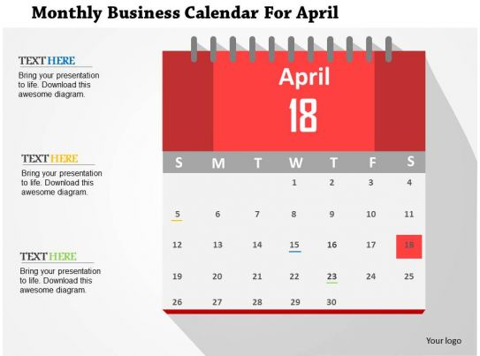 Business Calendar Design : Monthly business calendar for april flat powerpoint design