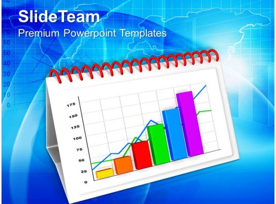 monthly progress report by bar graph powerpoint templates