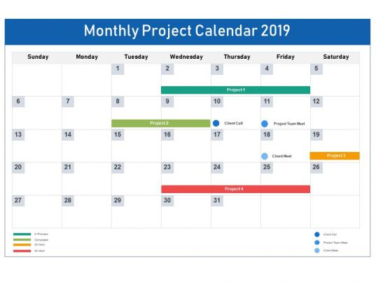 monthly project calendar 2019