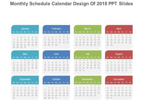 Monthly Event Calendar Design : Monthly schedule calendar design of ppt slides