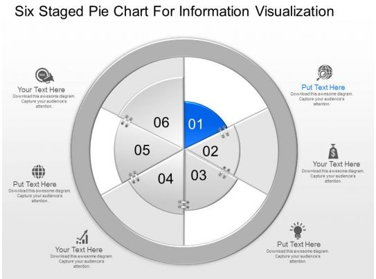 Mt Six Staged Pie Chart For Information Visualization Powerpoint