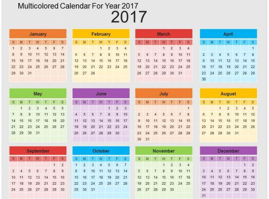 multicolored calendar for year 2017 flat powerpoint design. Black Bedroom Furniture Sets. Home Design Ideas