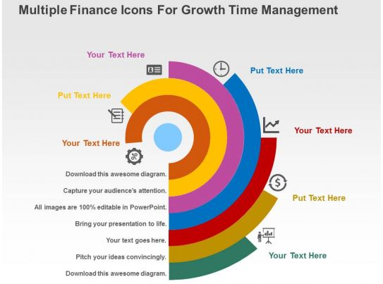 multiple finance icons for growth time management flat