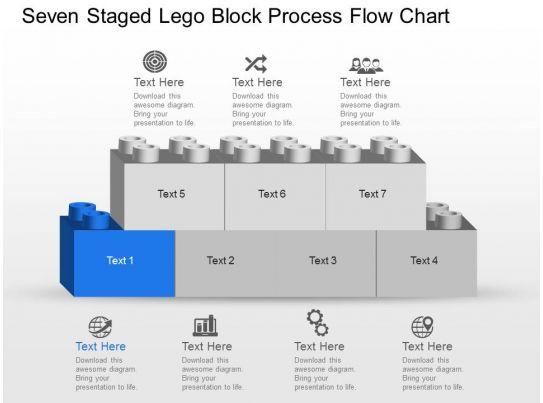 My Seven Staged Lego Block Process Flow Chart Powerpoint
