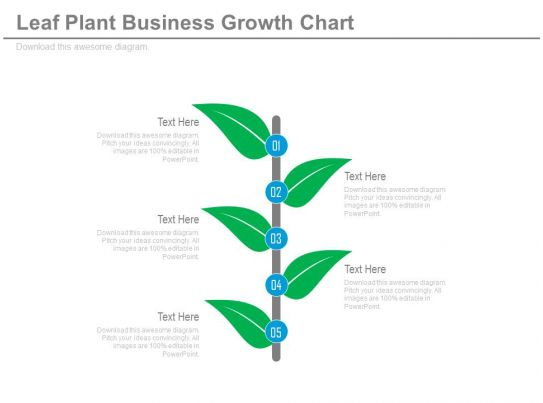 Professional sales slides showing new leaf plant business growth chart flat - Successful flower growing business ...