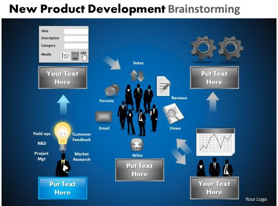 New product development brainstorming powerpoint slides for New product design and development