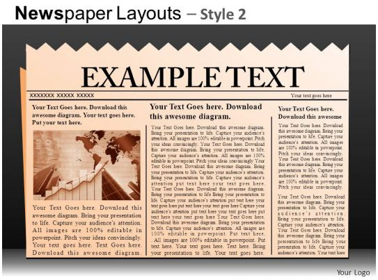 newspaper layouts style 2 powerpoint presentation slides db powerpoint slide template. Black Bedroom Furniture Sets. Home Design Ideas