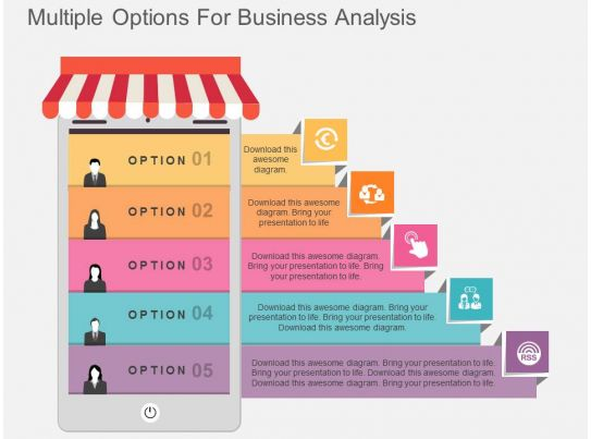 one multiple options for business analysis flat powerpoint
