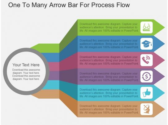 one to many arrow bar for process flow flat powerpoint design