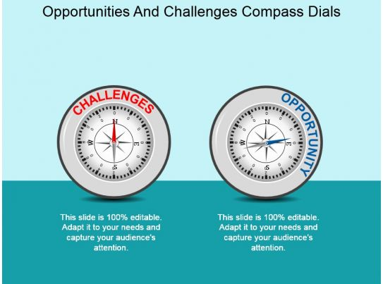 Opportunities And Challenges Compass Dials Powerpoint ...
