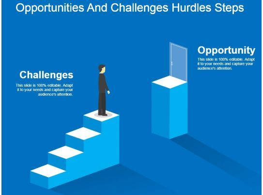 Opportunities And Challenges Hurdles Steps Powerpoint ...