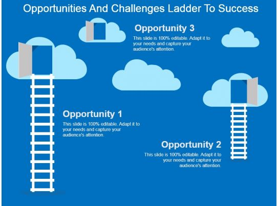 Opportunities And Challenges Ladder To Success Powerpoint ...