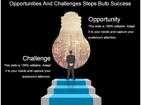 opportunities and challenges steps bulb success powerpoint