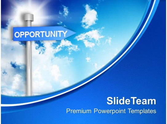 opportunity signpost on blue background powerpoint