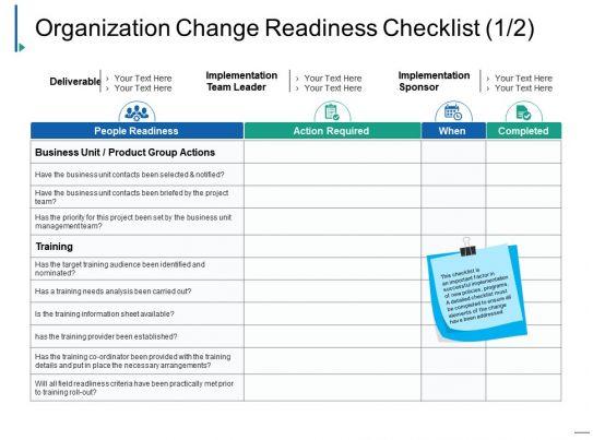 organization change readiness checklist ppt inspiration