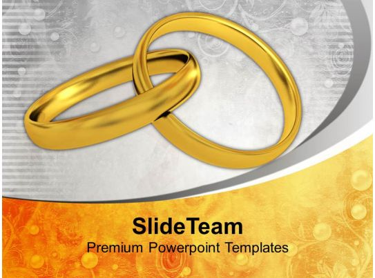 pair of golden rings wedding powerpoint templates ppt