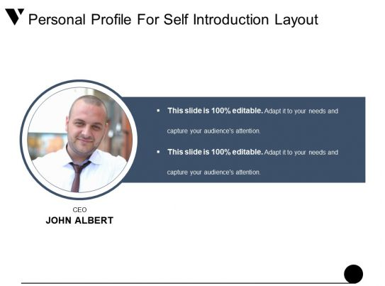 personal profile for self introduction layout presentation