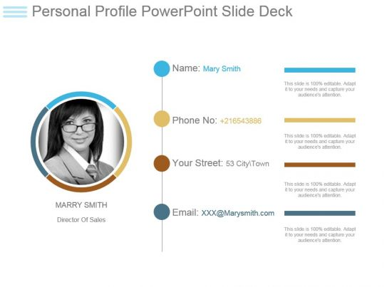 Personal profile powerpoint slide deck powerpoint slide for Personal profile design templates