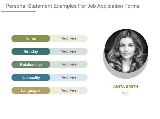 Personal statement examples for job application forms for Personal profile design templates