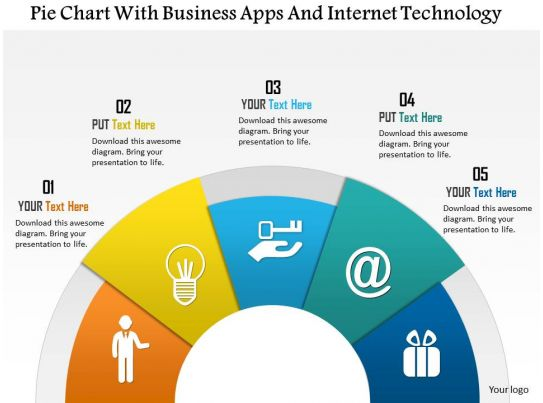 Pie Chart With Business Apps And Internet Technology Powerpoint