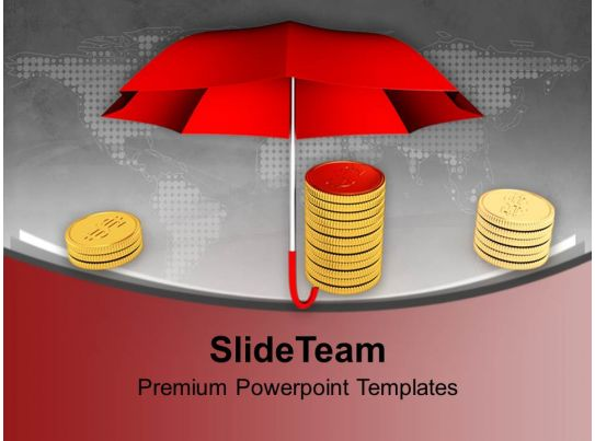 pile of coins under a umbrella powerpoint templates ppt themes and graphics 0113 powerpoint. Black Bedroom Furniture Sets. Home Design Ideas