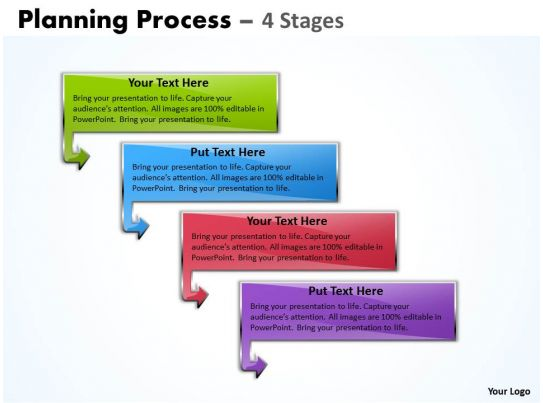 Planning Process Diagram With 4 Stages Powerpoint