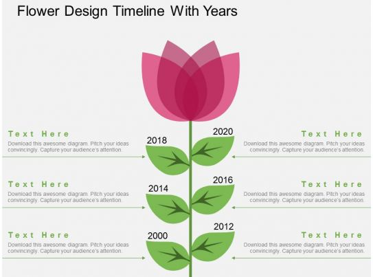 Po Flower Design Timeline With Years Flat Powerpoint ...