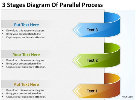 powerpoint graphics business 3 stages diagram of parallel process
