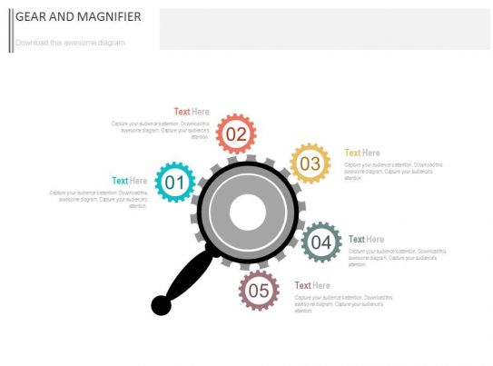 pptx five staged gears and magnifier diagram flat powerpoint design
