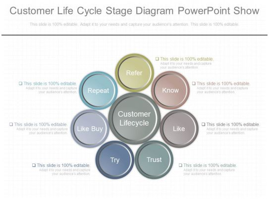 present customer life cycle stage diagram powerpoint show