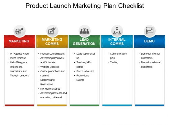Product launch marketing plan checklist ppt example file for Media launch plan template