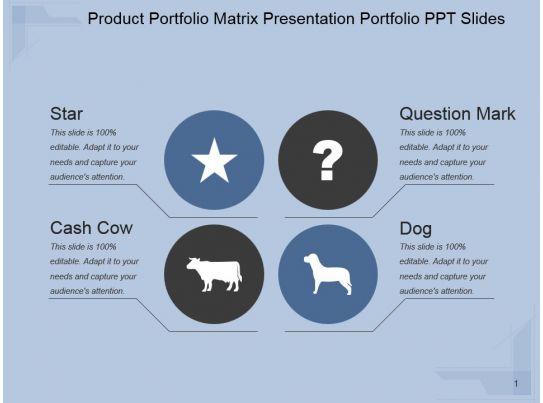 product portfolio matrix presentation portfolio ppt slides