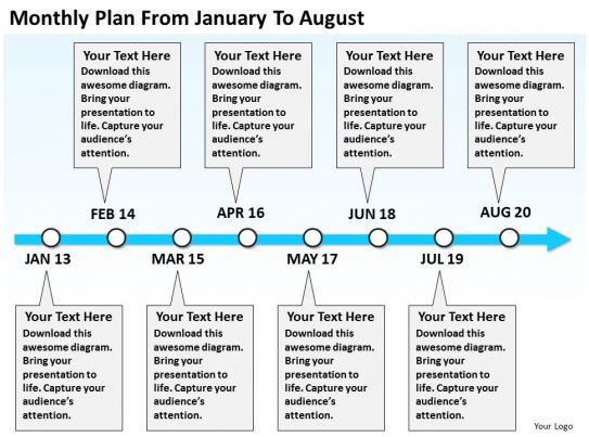 product_roadmap_timeline_monthly_plan_from_january_to_august_powerpoint_templates_slides_slide01, Modern powerpoint