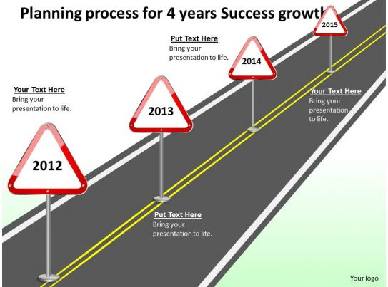 product roadmap timeline planning process for 4 years success growth powerpoint templates slides slide01