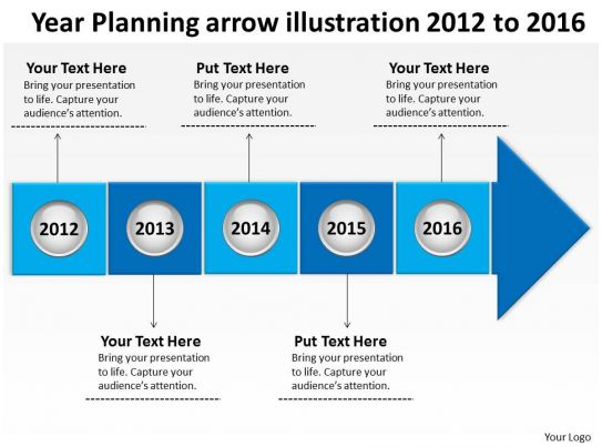 it strategic plan template 3 year - product roadmap timeline year planning arrow illustration