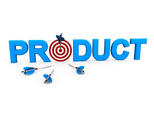 Product Word With Target Dart And Arrow Showing Business And Marketing