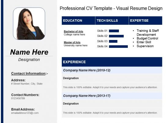 professional cv template visual resume design