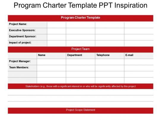 program charter template ppt inspiration