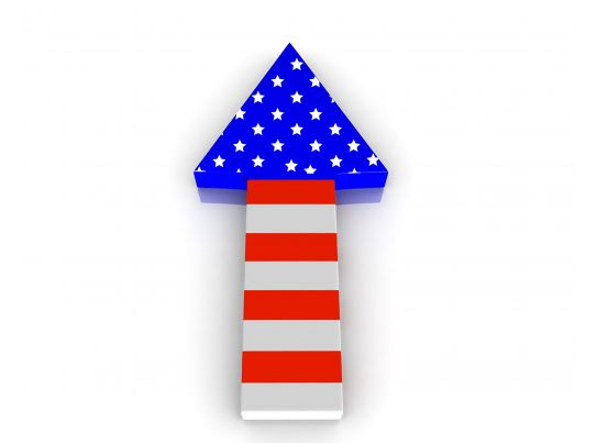 progressive arrow with american flag design stock photo