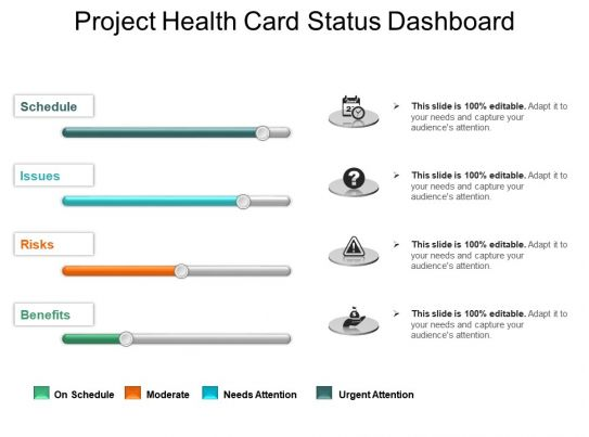 project health card status dashboard powerpoint slide