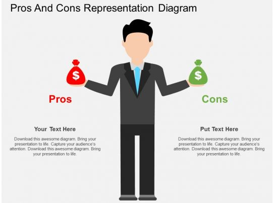 pros and cons representation diagram flat powerpoint