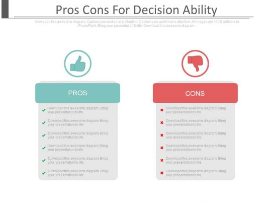 Pros cons for decision ability ppt slides for Pros and cons matrix template