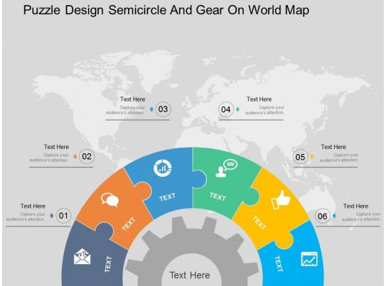 puzzle design semicircle and gear on world map ppt presentation