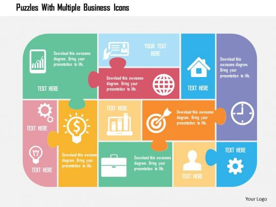 puzzles with multiple business icons flat powerpoint
